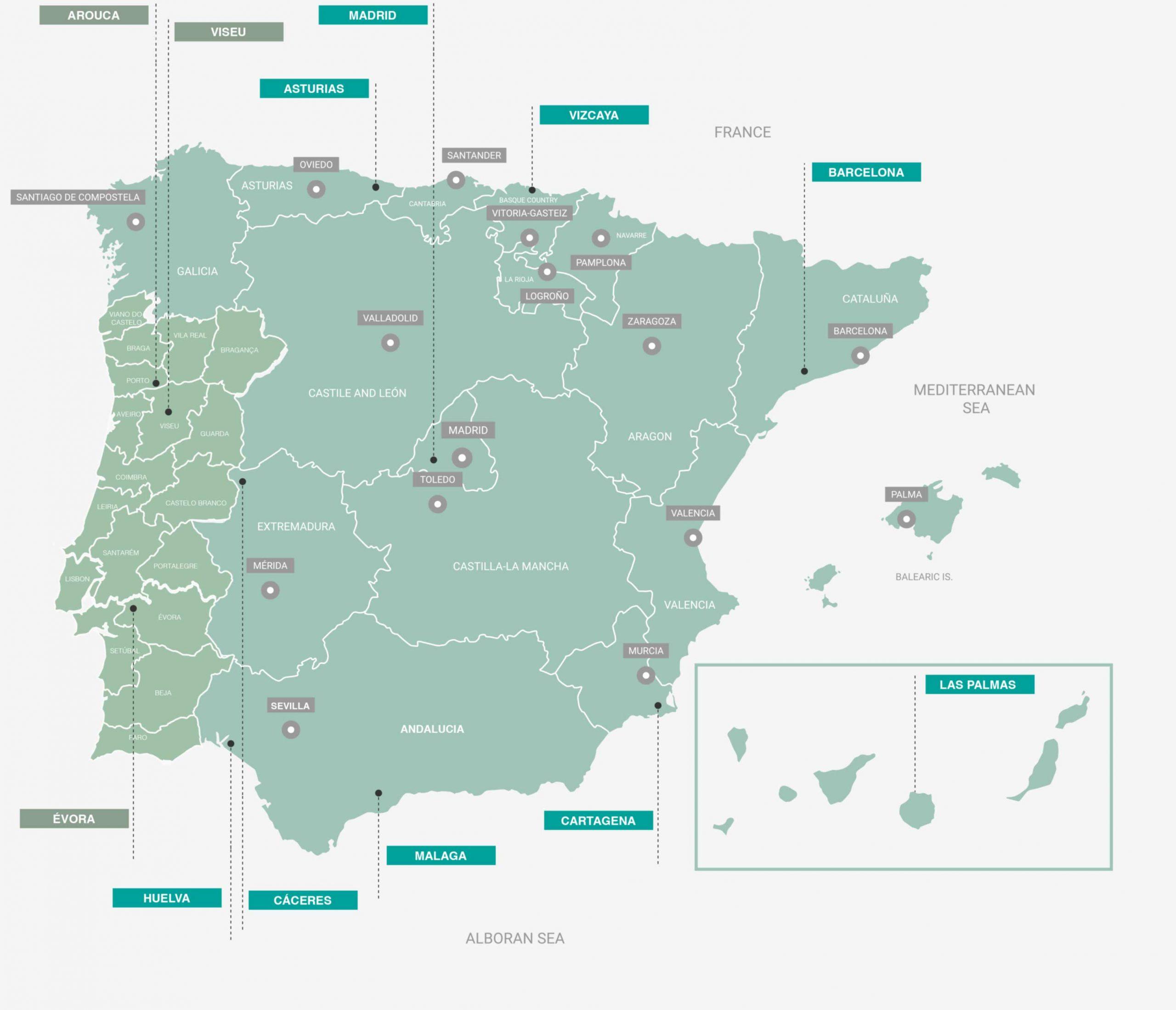 Plantaciones de Bosquia en España y Portugal